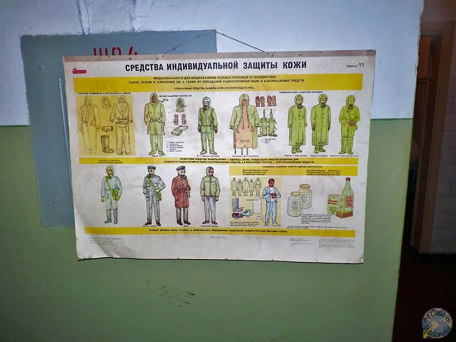 Precauciones anti-radioactividad, dentro del bunker, cerca de Ligatne