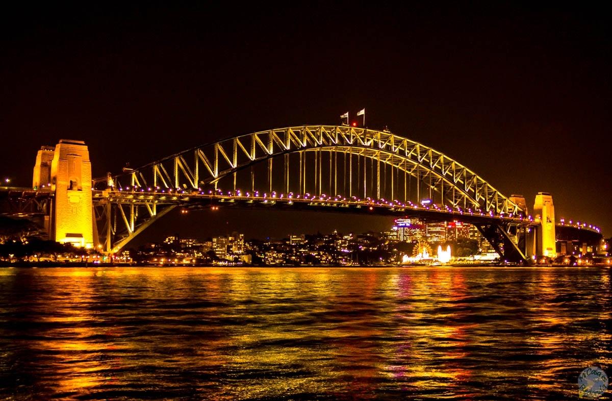 Puente de la Bahía de Sydney, por la noche