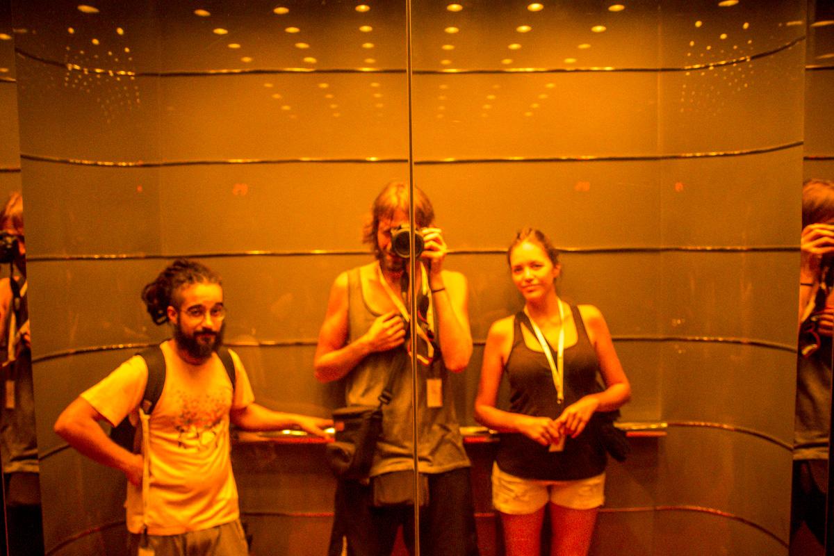 Selfie en un ascensor, Hong Kong