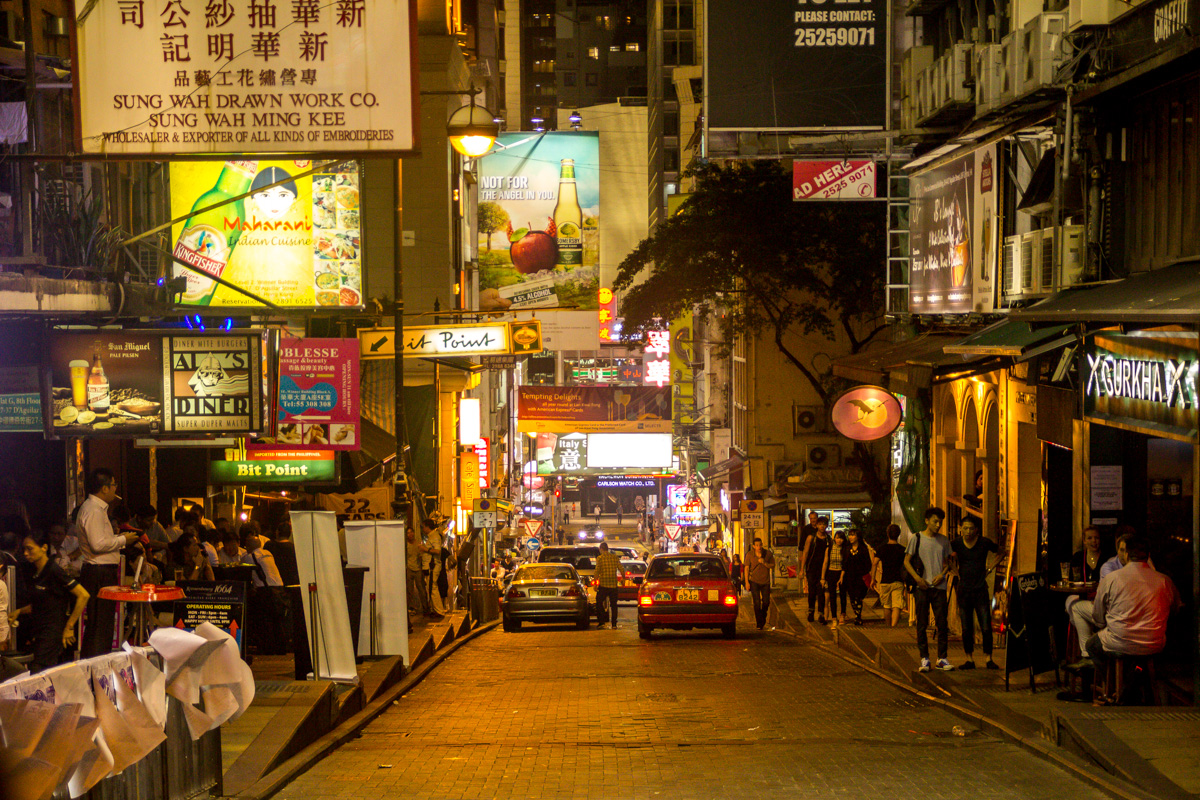 Lan Kwai Fong, barrio animado en Hong Kong