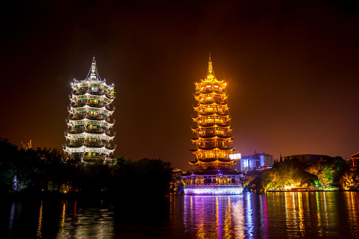 Pagodas by night en Guilin