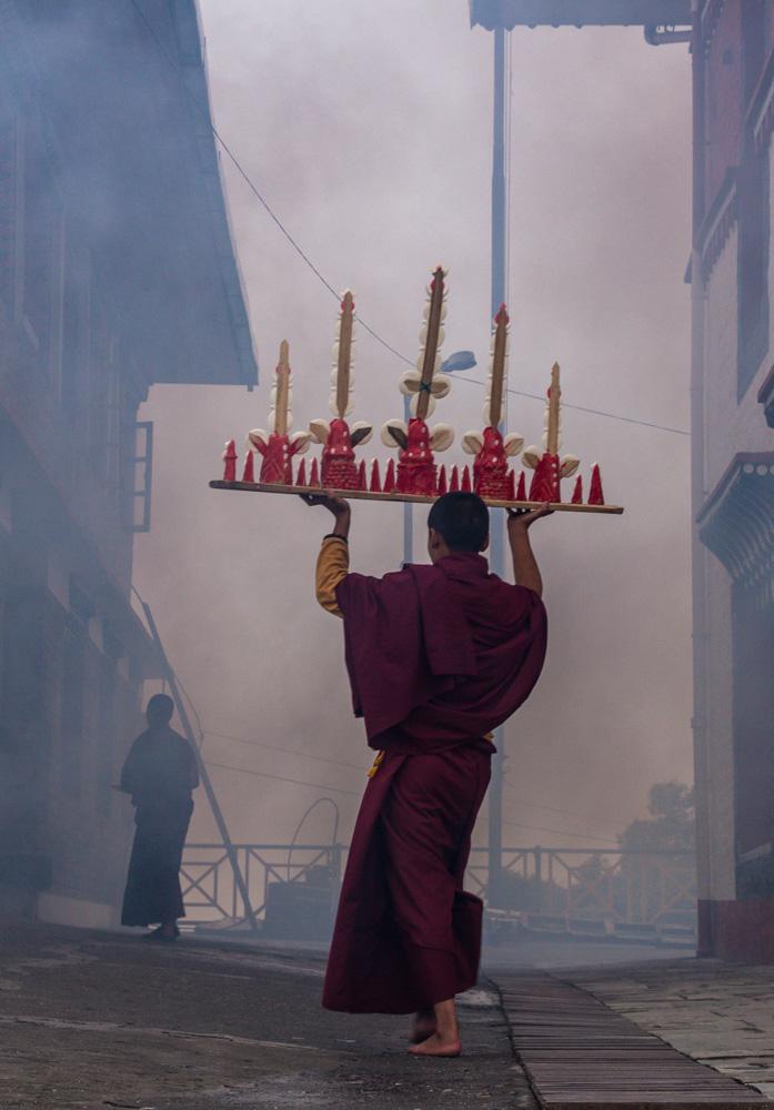 Monjes tibetanos en Sikkim
