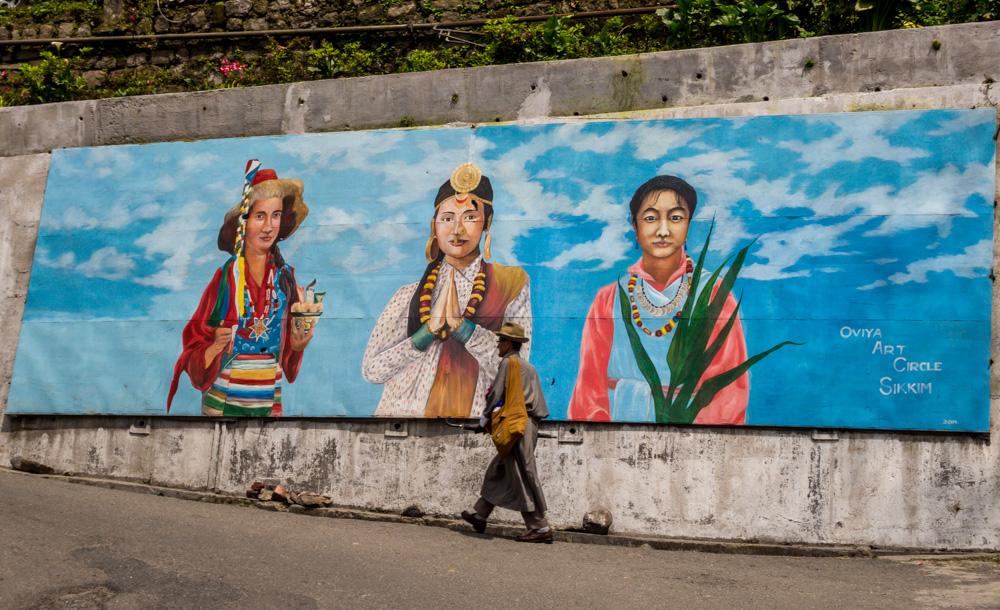 Murales callejeros en Gangtok, Sikkim