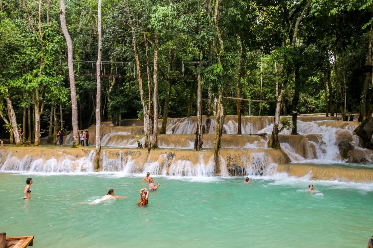 La poza principal en Tad Se, Luang Prabang