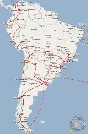 mapa de ruta sudamérica