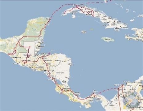 mapa de ruta centroamérica