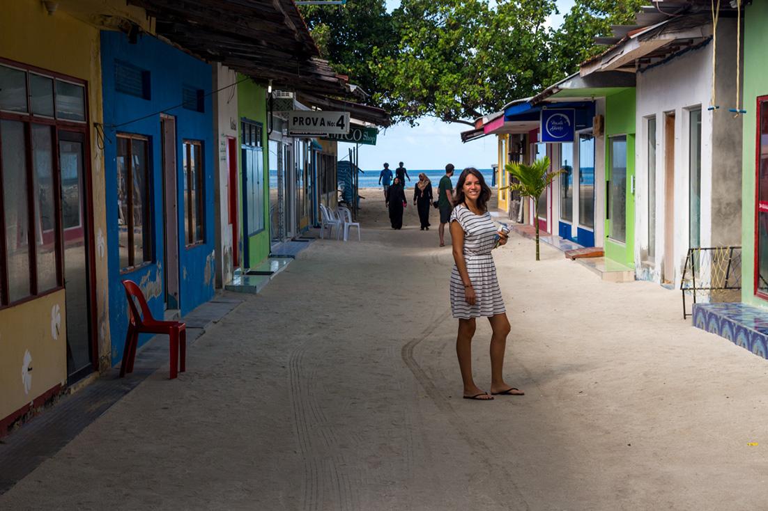 Carol en Guraidhoo, Maldivas