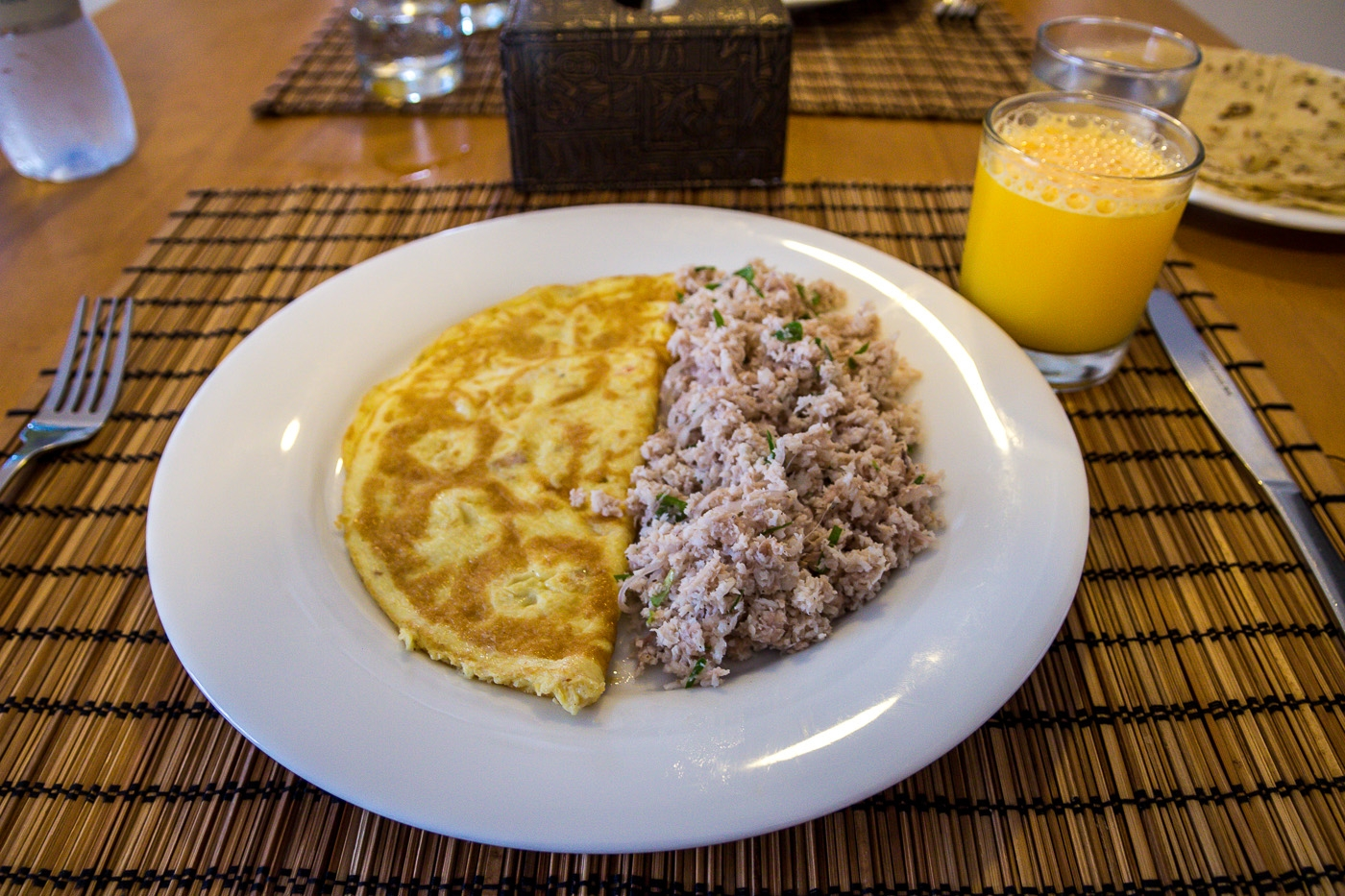 Mashuni con tortilla. Desayuno Maldivo en Mathiveri