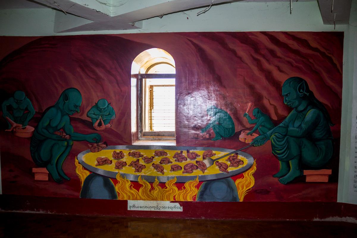 Sopa de humanos, pinturas del interior del Buda muy gráficas