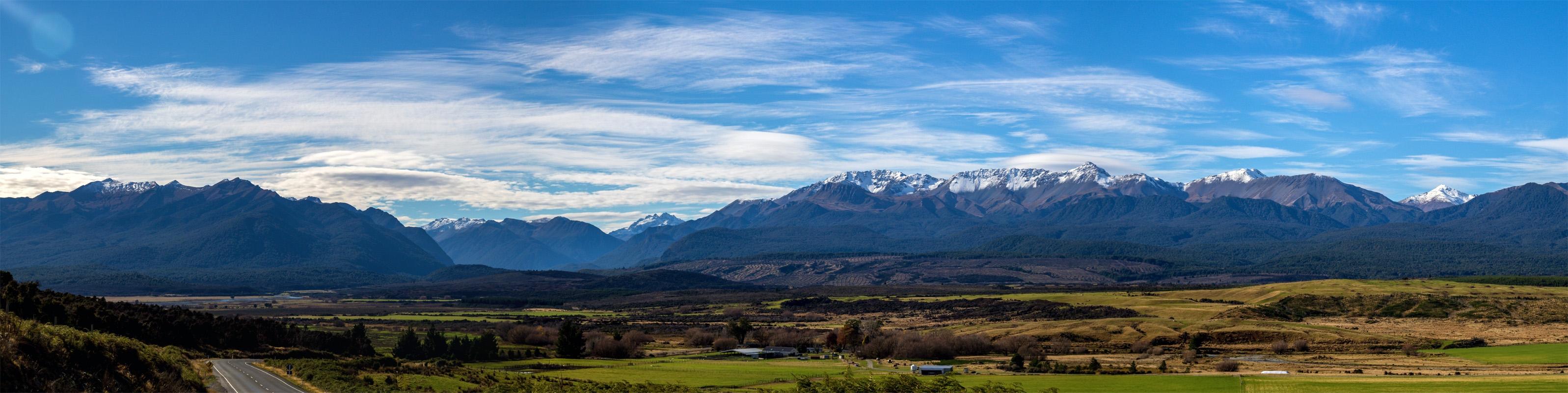 Panóramica de las montañas de la isla sur, Nueva Zelanda