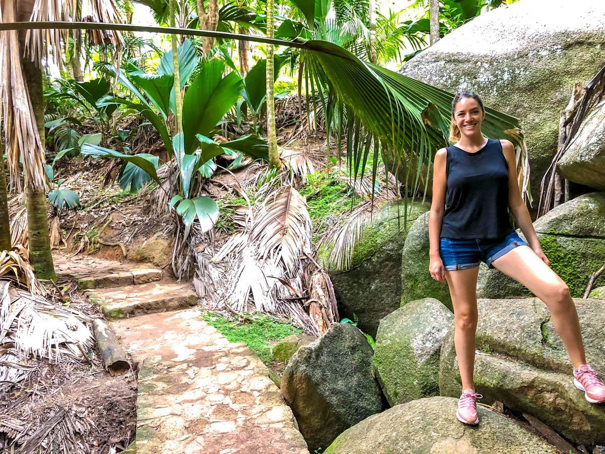Paseando por Valle de Mai, Praslin, Seychelles