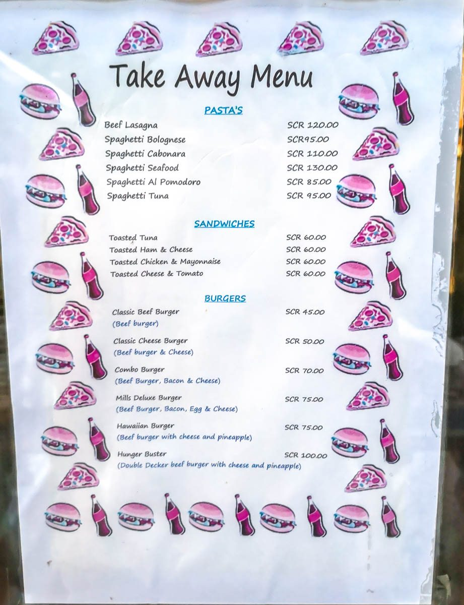 Menú de Take Away en La Digue, Seychelles