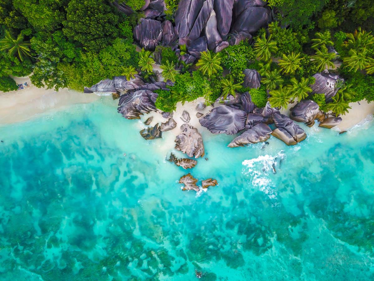 Anse Source d'Argent desde el aire, La Digue, Seychelles