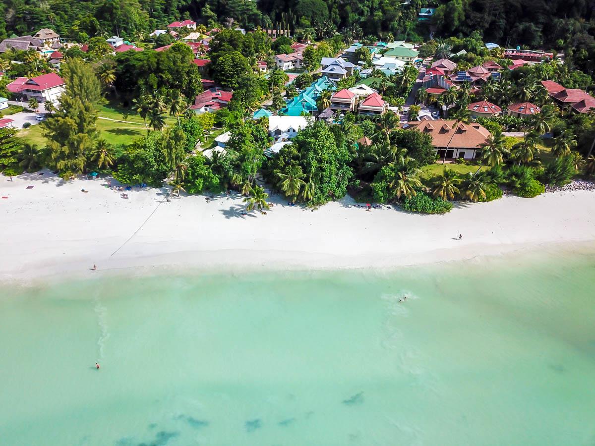 Cote D'or desde el aire, Praslin, Seychelles
