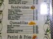 Menu de restaurante de snacks en Praslin, Seychelles