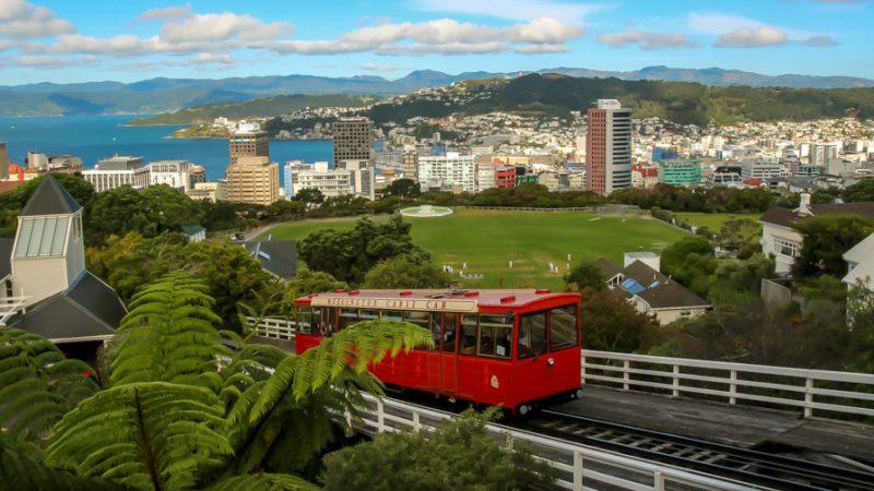Wellington y el Cable Car desde el Botanic Garden