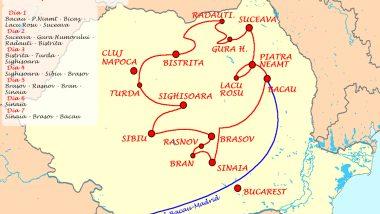 Rumanía mapa ruta