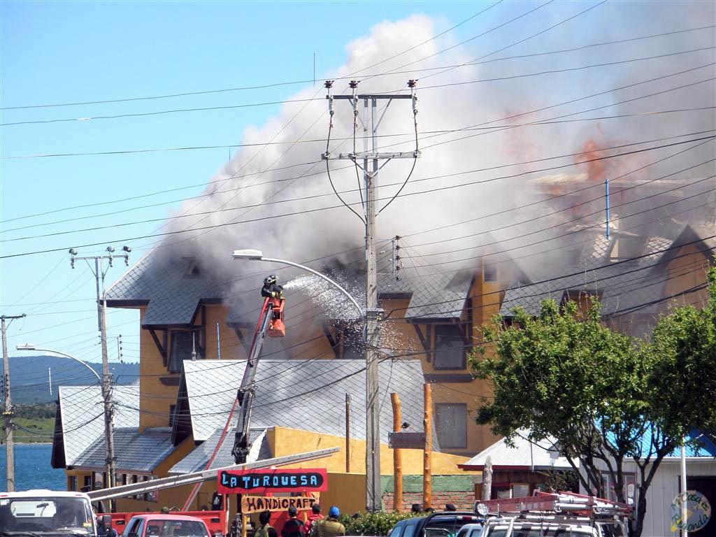 Hotel ardiendo en Puerto Natales