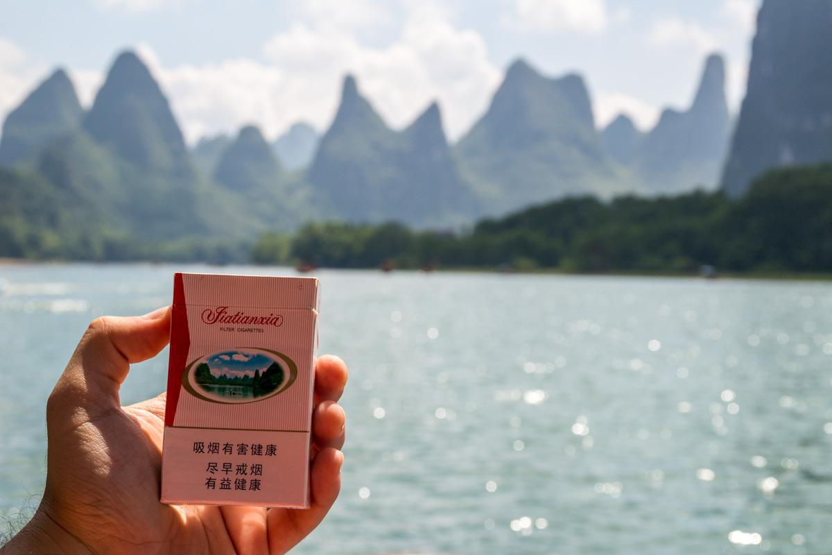 Aparece hasta en el tabaco, Li River