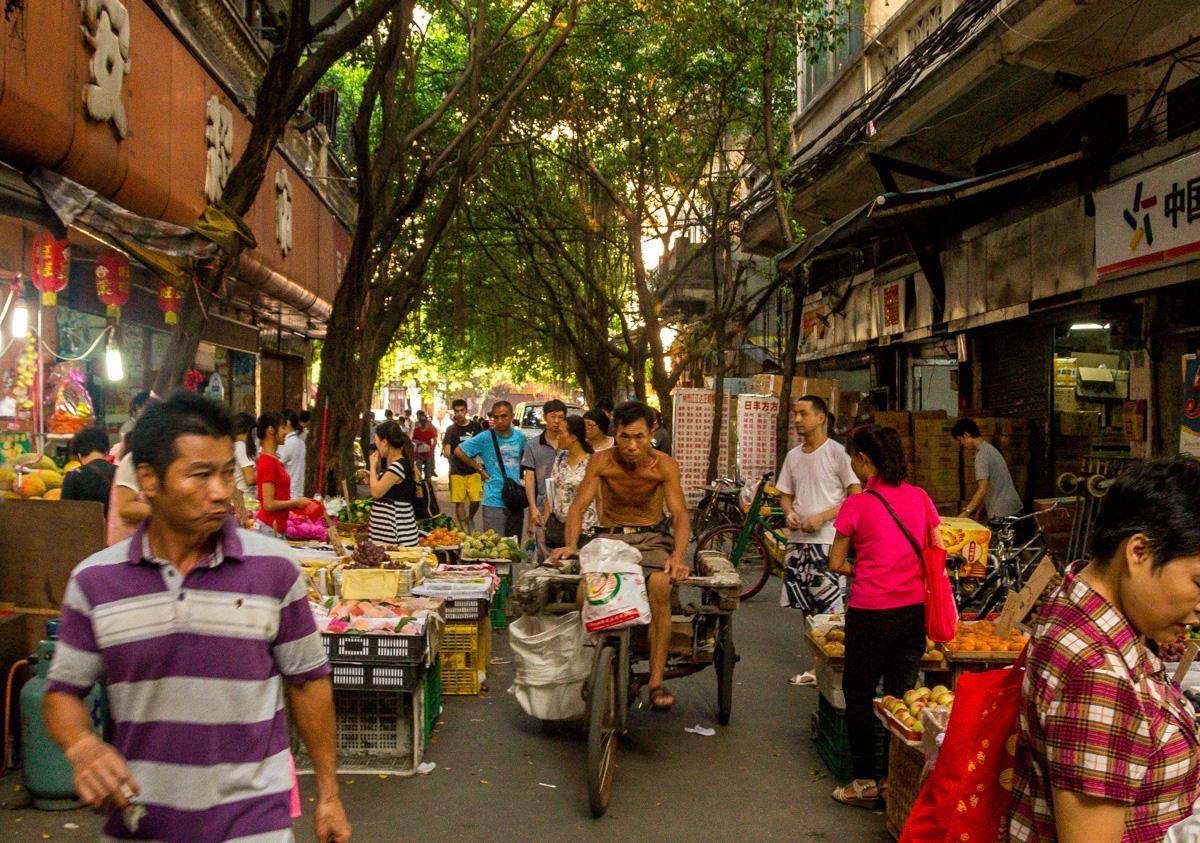 Mercado, calles y vida en Guangzhou