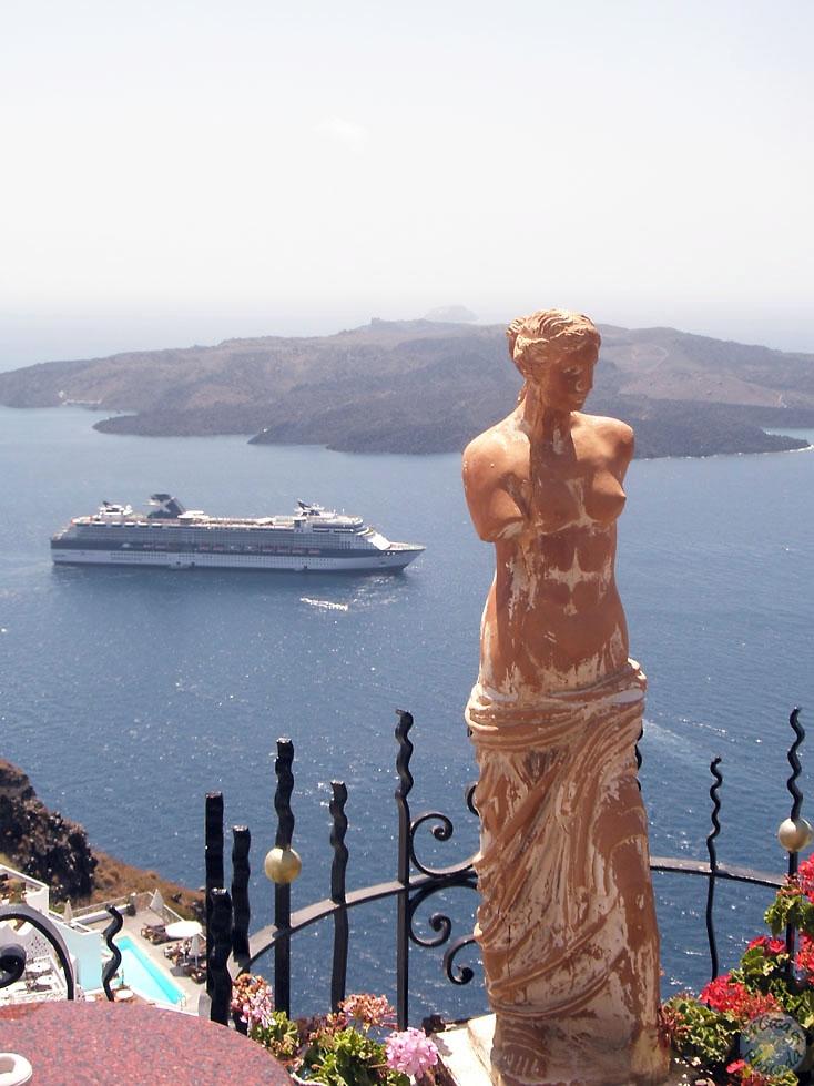 Vistas del Egeo desde Fira