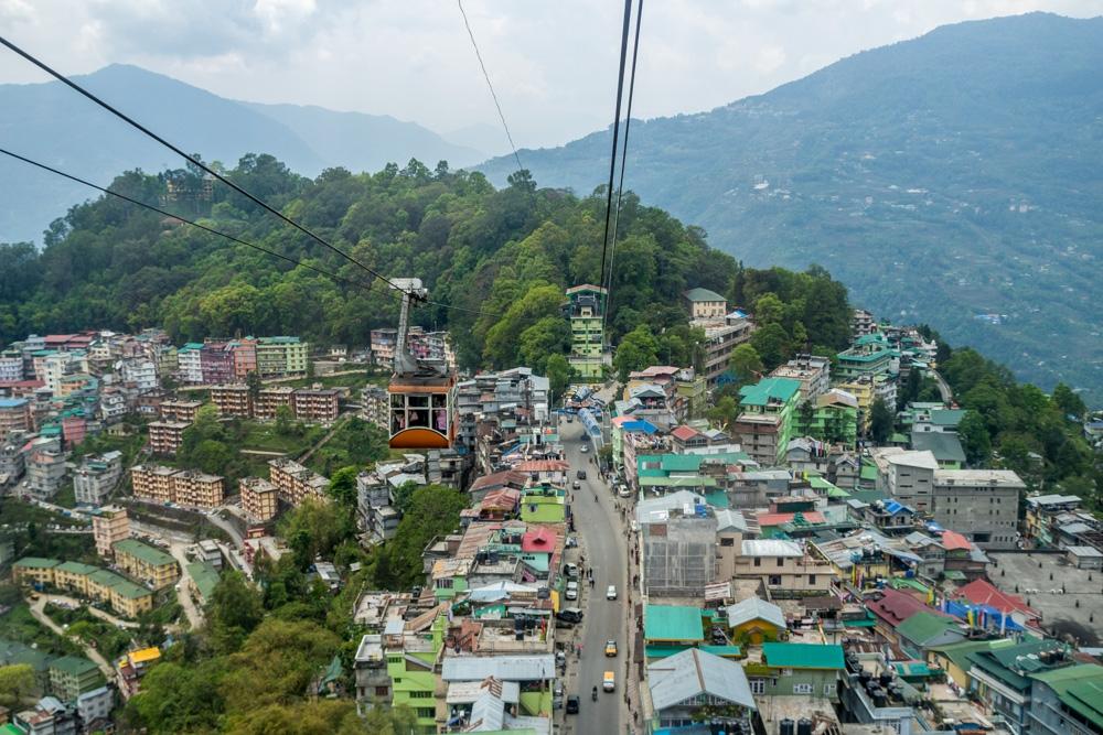 Gangtok a vista de Teleférico