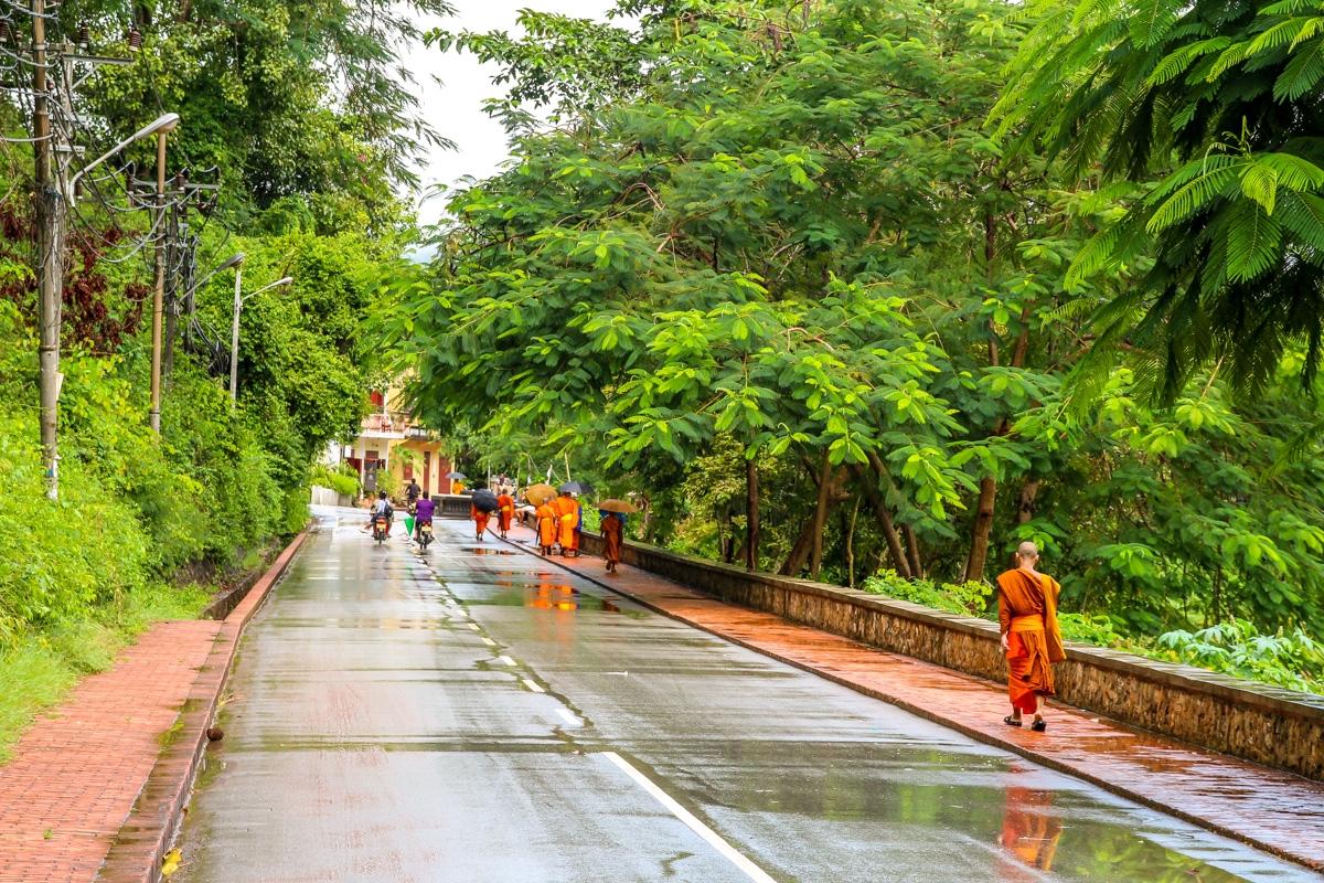 Monjes por la calle tras el chaparrón, Luang Prabang
