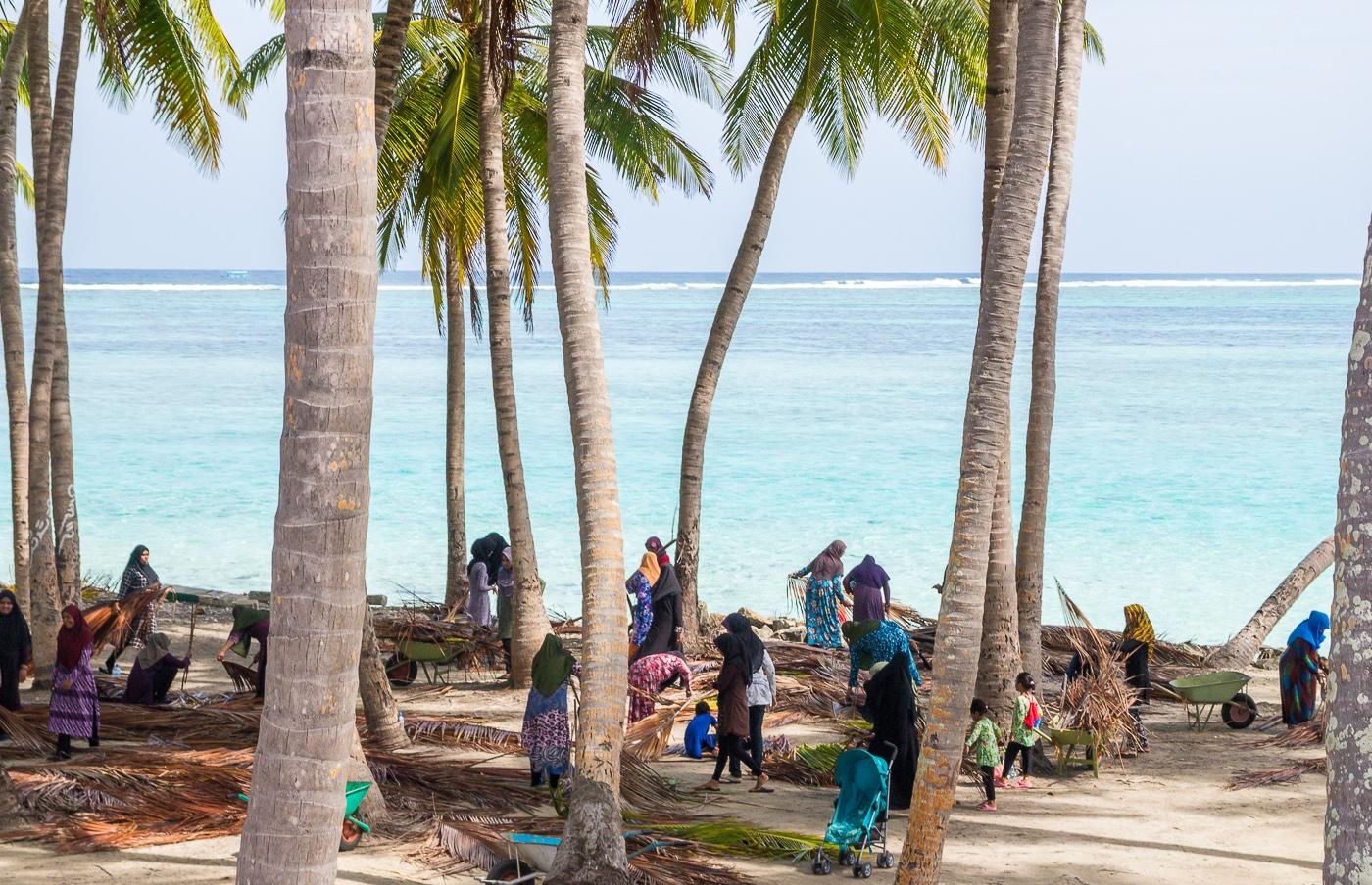 Medio pueblo trabajando con las hojas de palmera, Mathiveri