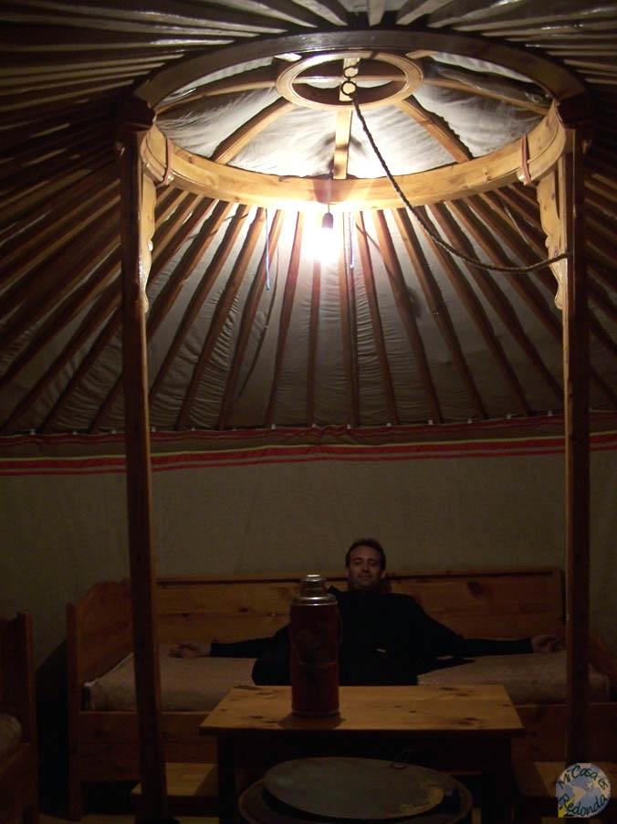 El interior de un ger-alojamiento, a todo lujo