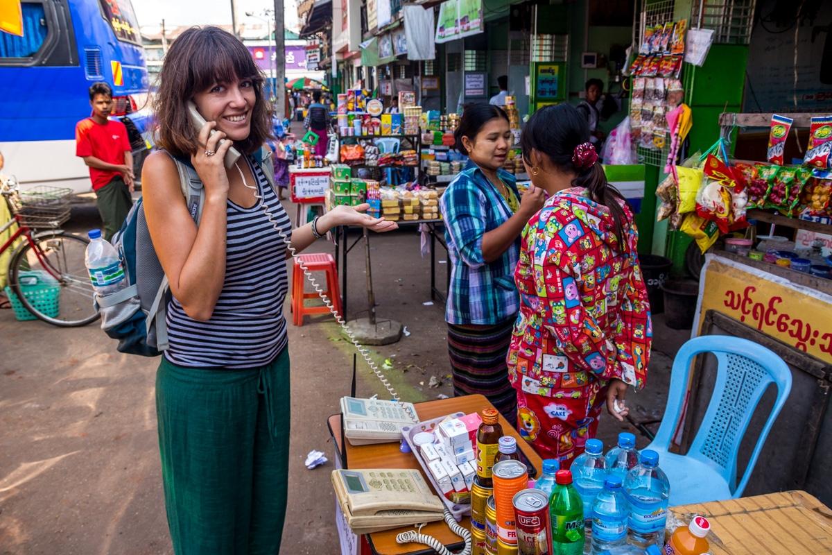 Hola, es el enemigo? Estación de autobús de Yangon