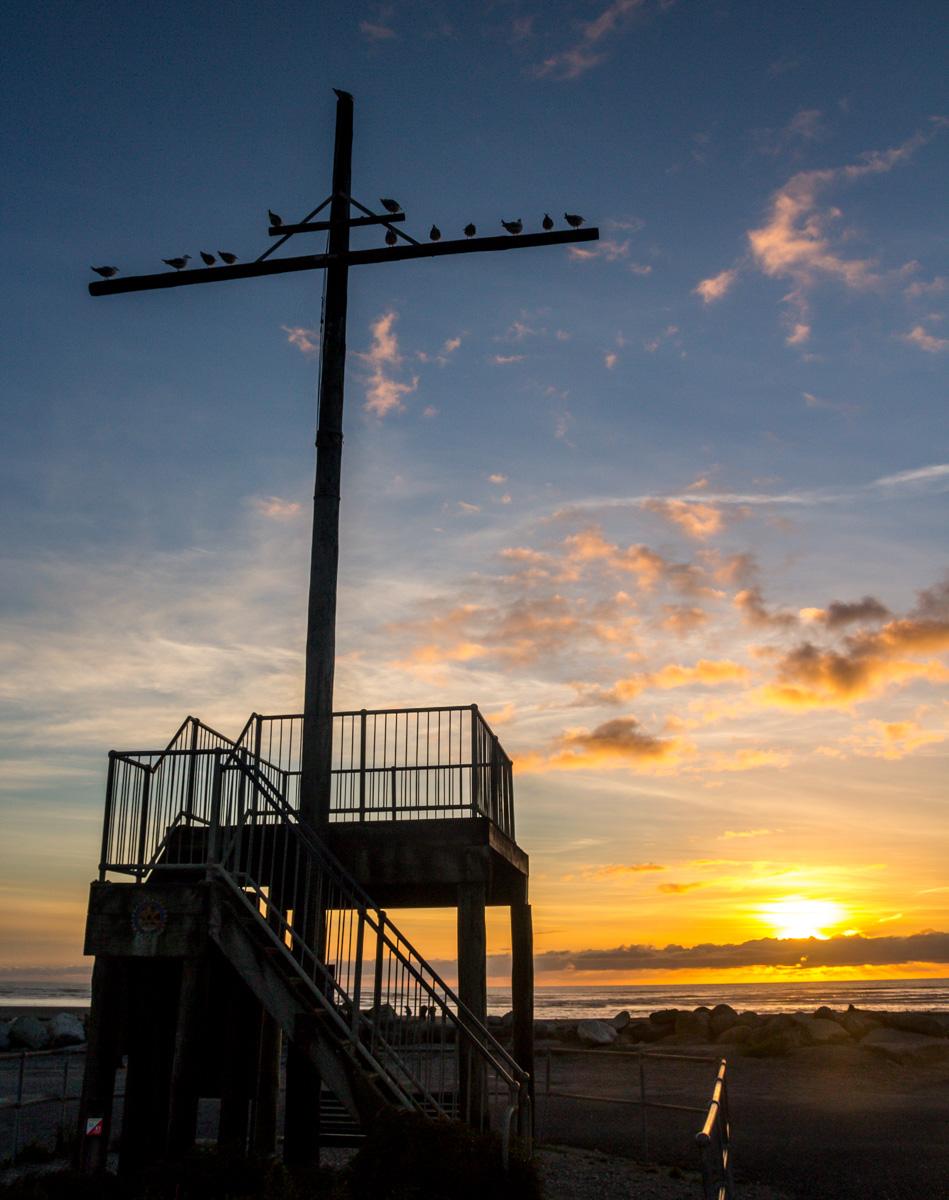 Atardecer en el Sunset Point de Hokitika, Westland
