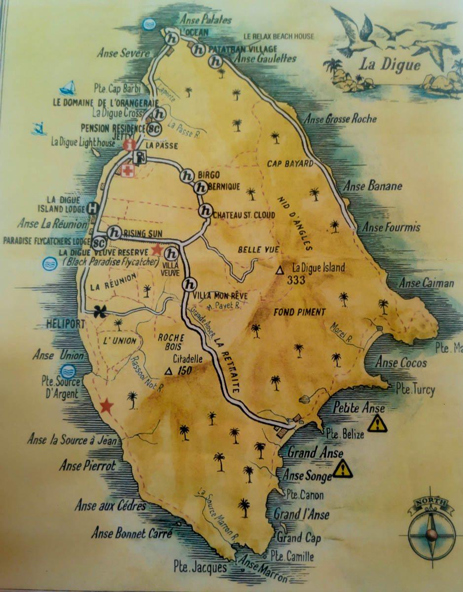 Mapa de La Digue, Seychelles