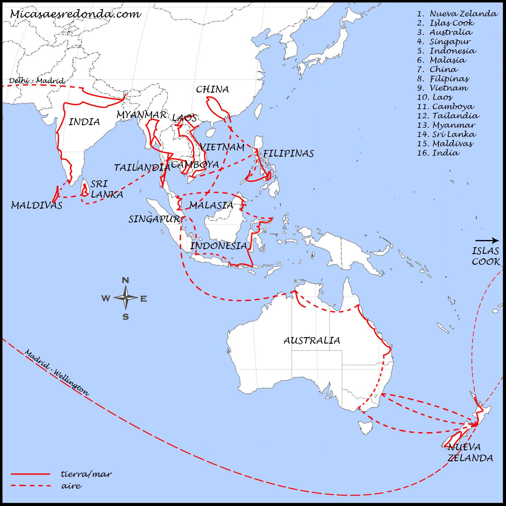 mapa de ruta asia y oceania